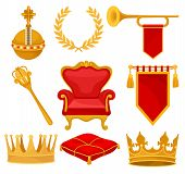 Monarchy attributes set, golden orb, laurel wreath, trumpet, throne, scepter, ceremonial pillow, crown, flag, heraldic symbols vector Illustration on a white background poster