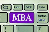Word writing text Mba. Business concept for Advanced degree in business fields such as administration and marketing poster