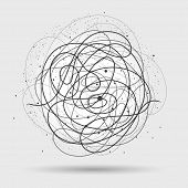 Chaos wires. Tangled wire circle vector illustration, scribble lines clutter abstract background poster