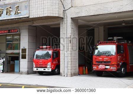 Keelung, Taiwan - November 23, 2018: Fire Station In Keelung, Taiwan. Mitsubishi Fuso, Isuzu And Man