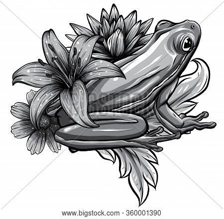 Cute Frog Cartoon. Cartoon Frog Sitting With Flower, Vector
