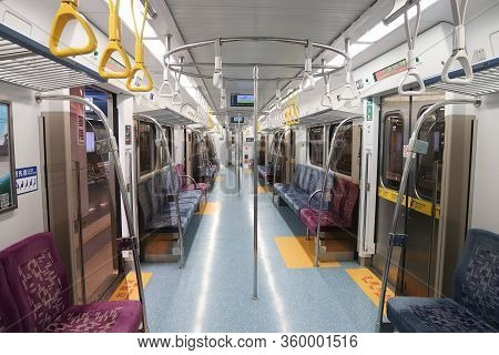 Keelung, Taiwan - November 24, 2018: Empty Local Train In Keelung, Taiwan. Keelung Is The 9th Most P