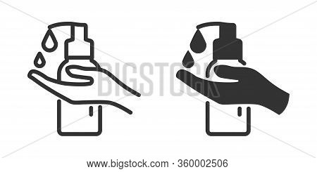 Hand Sanitizer Icon In Two Versions In Simple Design. Vector Illustration