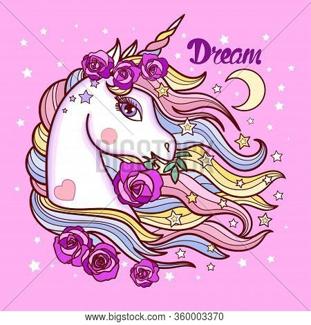 The Head Of A Unicorn With A Long Mane And Roses. Childrens Vector Illustration.