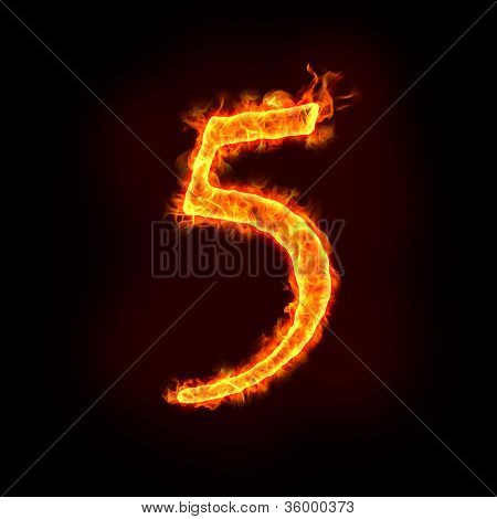 Fire Numbers In Flames, Five 5