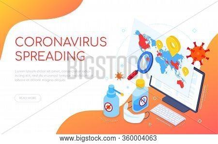 Coronavirus Spreading In The World - Isometric Web Banner