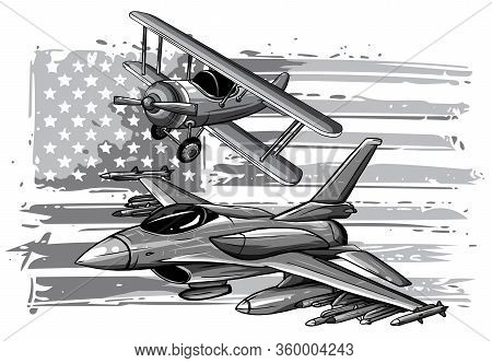 Monochromatic Military Plane Fired A Missile. Fighter Jet Vector Illustration.