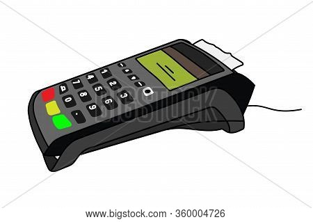 Payment Terminal For Cards And Contactless Payment. Pos Terminal Confirms The Payment By Debit Credi