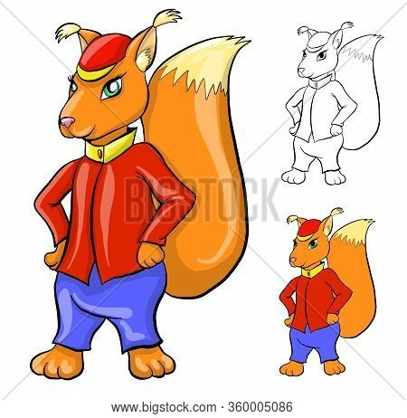 Vector Character Squirrel. Animal Squirrel In Clothes. Outlines, Flat Colored And 3d With Shadows.