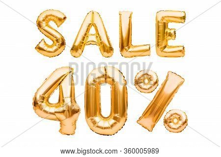 Golden Forty Percent Sale Sign Made Of Inflatable Balloons Isolated On White. Helium Balloons, Gold