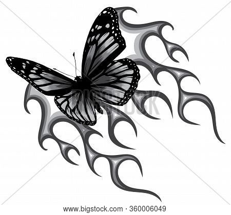 Monochromatic Vector Illustration Of A Butterfly Made Of Fire