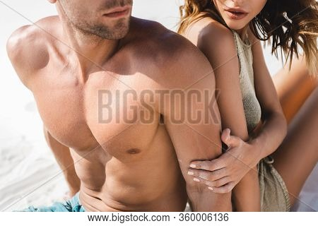 Cropped View Of Passionate Sexy Young Couple On Beach