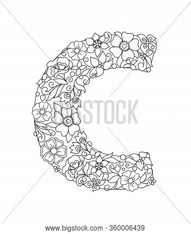 Capital Letter C Patterned With Hand Drawn Doodle Abstract Flowers And Leaves. Monochrome Page Anti