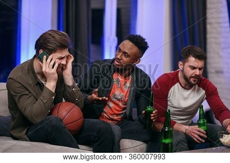Fierce Noisy Likable 30s Multiracial Male Friends Encouraging With Shouts Their Favourite Football T