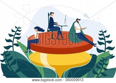 Team Of Employees Work On The Hourglass Relaxed And Concentrated. Business Concept Of Time Managemen