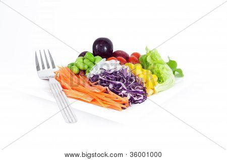 Salads, Vegetables And Fruits.