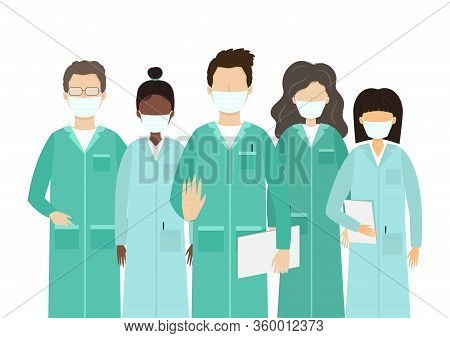 Vector Cartoon Flat Illustration Of Doctors Characters In Medical Face Mask. Stop Coronavirus Covid-