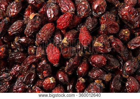 Texture  Dried Rose Hips Closeup. Natural Oxidant And Strengthening Immunity