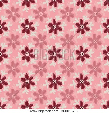 Pink Floral Seamless Vector Girly Pattern. Nature Themed Surface Print Design. For Fabrics, Statione