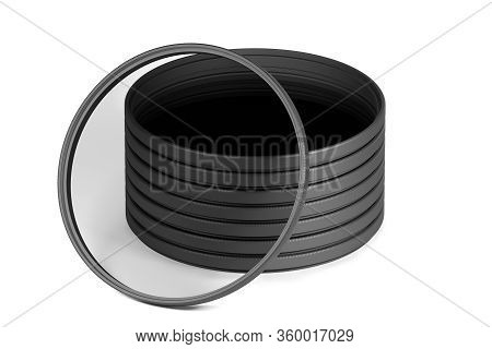 Stack Of Slim Neutral Density Or Nd Filters Isolated On White Background (3d Model Rendered Illustra