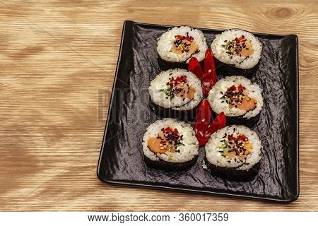Korean Roll Gimbap(kimbob). Steamed White Rice (bap) And Various Other Ingredients