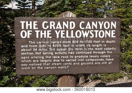 Yellowstone National Park, Usa - July 12 2014:  An Informational Wooden Sign For The Grand Canyon Of