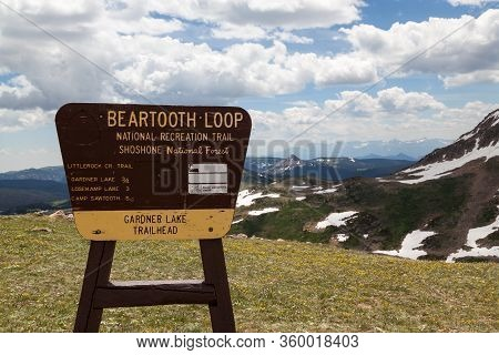 Shoshone National Forest, Wyoming, Usa - July 13, 2014:  A Wooden Sign For Beartooth Loop Recreation
