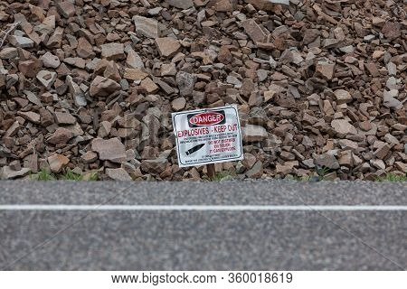 Yellowstone National Park,  Montana, Usa - July 13, 2014:  A Small Metal Sign On The Side Of The Roa