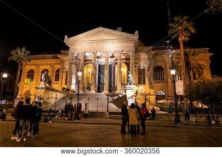 Palermo, Sicily - February 8, 2019: The Front Side Of The Massimo Theater (teatro Massimo) In Palerm