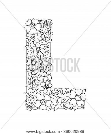 Capital Letter L Patterned With Hand Drawn Doodle Abstract Flowers And Leaves. Monochrome Page Anti