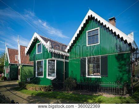 Zaanse Schans, Netherlands - October 13, 2018: Typical Houses In The Zaanse Schans, A Neighborhood W