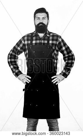 Ready To Cook. Bearded Hipster Wear Apron For Barbecue. Roasting And Grilling Food. Picnic And Barbe