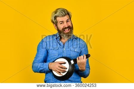 Cooking In Pot. For Preparing Food. Bearded Man Cooking In Kitchen. Culinary And Cuisine. Kitchen Ut