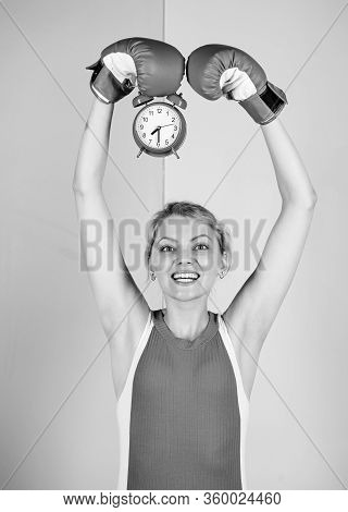 Control Time. Activity Time. Establishing The Clock Time. Time To Fight. Win The Day. Happy Woman Bo