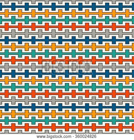 Bright Colors Seamless Pattern With Battlement Curved Lines. Repeated Geometric Figures Wallpaper. M