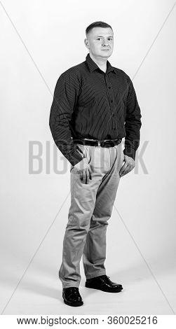 Man Regular Caucasian Appearance Wear Formal Clothes. Male Fashion Store. Businessman Lecturer Manag