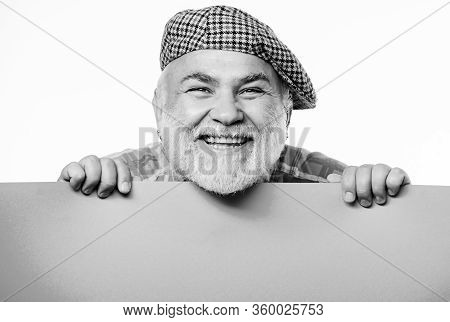 Your Advertising Here. Copy Space Placate Information. Senior Bearded Man Place Announcement On Bann
