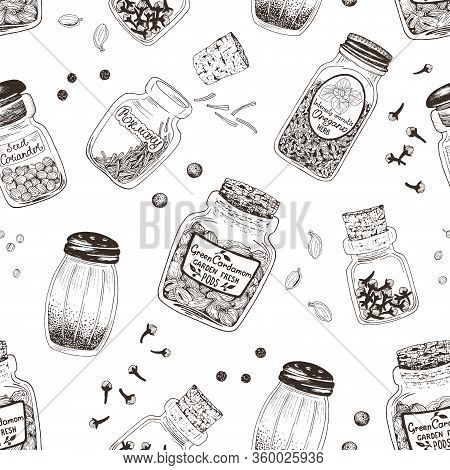 Spices In Jars Hand Drawn Seamless Pattern With Rosemary, Coriander, Cardamom, Pepper, Oregano And C