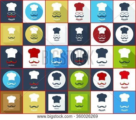 Chef Badge. Icons For Food Service Delivery, Eatery, Snack-bar, Lunchroom, Bar, Bistro, Tavern; Fast