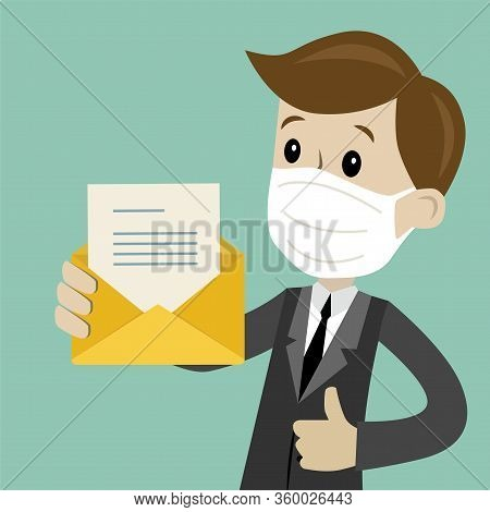 Businessman Or Manager In Medical Mask Has A Lot Of Emails. He Found The One. Job Is Finished Succes