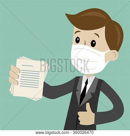 Businessman In Medical Mask Or Manager Has A Lot Of Jobs. Job Is Finished Successfull. Job Is Finish