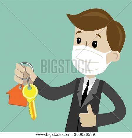 Businessman In Medical Mask Hand Buying A House. Realtors Hand Giving Keys To Client. Real Estate Co
