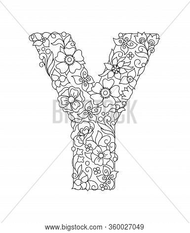 Capital Letter Y Patterned With Hand Drawn Doodle Abstract Flowers And Leaves. Monochrome Page Anti