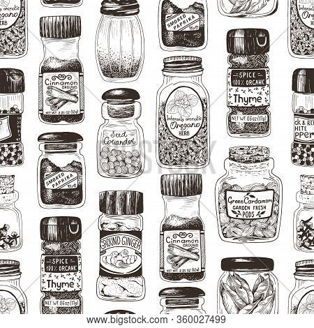 Spices In Jars Hand Drawn Seamless Pattern With Thyme, Paprika, Cinnamon, Ginger, Coriander, Cardamo