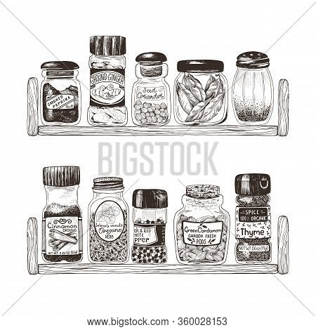 Spices In Jars On Wooden Shelves, Thyme, Ginger, Bay Leaf, Coriander, Cardamom, Pepper, Oregano, Pap