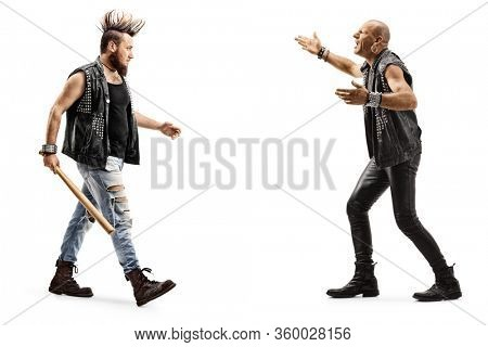 Full length profile shot of angry punk men arguing isolated on white background