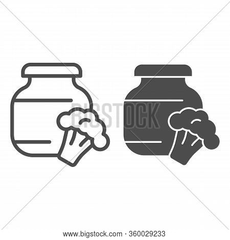 Stewed Cabbage And Broccoli Line And Solid Icon. Glass Can Jar And Cabbage Outline Style Pictogram O
