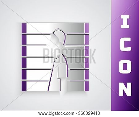 Paper Cut Suspect Criminal Icon Isolated On Grey Background. The Criminal In Prison, Suspected Near