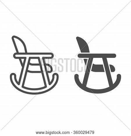 Rocker Chair Line And Solid Icon. Wood Nursing Rocker Stool For Rest Outline Style Pictogram On Whit