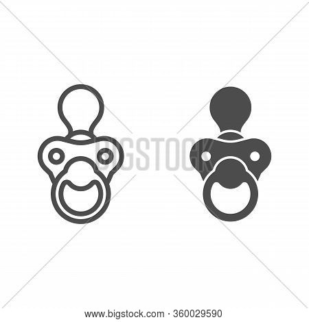 Baby Nipple Line And Solid Icon. Child Silicone Dummy Outline Style Pictogram On White Background. B